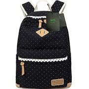 Mygreen Lightweight Leisure Dot 14 Inch Laptop Backpacks Cute Girls Canvas School Backpack Black