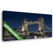 A Tower Bridge díszkivilágításban (50x25 cm, Vászonkép )