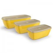 Kit 3 Potes Retangulares de Plástico Amarelo