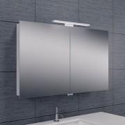 Spiegelkast Larissa 100x60x14cm Aluminium LED Verlichting Stopcontact Binnen en Buiten Spiegel Glazen Planken