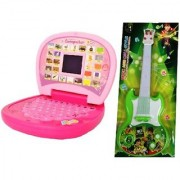 combo of Kids English Mini Laptop with small screen Musical Guitar Fetching Light and Sound for kids