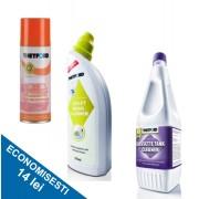 PACHET INTRETINERE 2: Solutie de curatat vasul de toaleta + Solutie curatare rezervor rezidual + Lubrifiant
