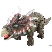 Memtes Walking Triceratops Dinosaur Toy Realistic Sounds and Fun Lights Walks and Roars!