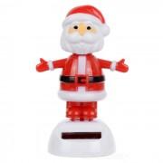 Solar Powered Cute Dancing Santa Claus Home Desk Table Decoration Car Decor - White + Red