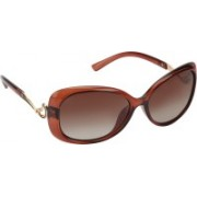 AAO+ 10643 wine Rectangular Sunglasses(Brown)