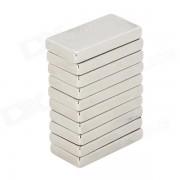 20 x 10 x 3mm Rectangular Nickel Plating NdFeB Magnet - Silver (10 PCS)