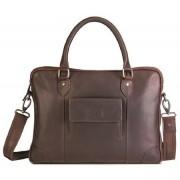 "Brando Silviano Leather Bailhandle Laptop Bag 15"""