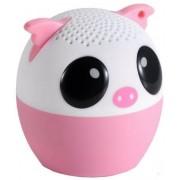 Boxa Portabila Yuppi Love Tech Pig, Bluetooth, Buton pentru selfie (Alb/Roz)