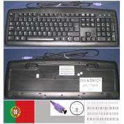 Clavier/Keyboard Qwerty Portugais / Portuguese Pour KB-0325 KB0325, 6992770110, Port connecteur/ connector PS2, Noir / Black, EAN: 5711045129087