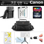 32GB Accessories Kit For Canon Powershot SX400 IS SX410 IS SX420 IS Digital Camera Includes 32GB High Speed SD Memory Card + Extended Replacement (900maH) NB-11L Battery + AC/DC Charger + Case + More