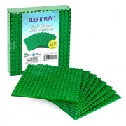 "Click n' Play Green Building Brick Base Plates - 5""x 5"" (Pack of 8) Tight Fit - Lego Compatible"