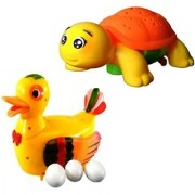 combo of Funny Duck Lays Eggs with projection turtle Light Sound Battery Operated Toy For kids