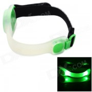 HJ-028 2-LED 2-Mode Green Outdoor Sports Warning Lamp / Bike Light - White + Green (2 x CR2032)