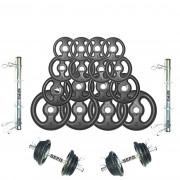 Kit Halteres de Anilhas e Barras Fitness - 44 Kg