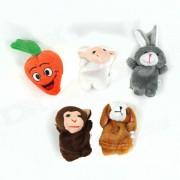 Mono Dedo pum?n lindo Puzzle Boy Doll + conejo + Ovejas + Perro + Zanahoria Set - Multicolor