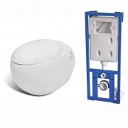 vidaXL Nové závěsné bílé WC s tvarem vajíčka