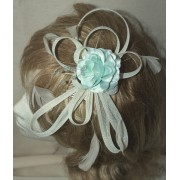 Stunning Ivory Cream Multi loops fascinator with with a Satin Silk Mint Green Flower & Diamonties