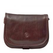 Damen Leder Schultertasche in Dunkelbraun - Aktentasche, Umhängetasche, Businesstasche, Laptoptasche
