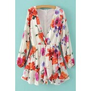 Zaful Plunging Neck Floral Print Long Sleeve Romper
