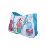 Textilní plážová kabelka světle modrá