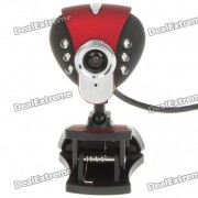 USB 2.0 1.3MP Driverless Webcam w/ Microphone and 6-LED Illuminated - Red
