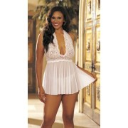Shirley Of Hollywood - Plus Size Stretch Lace And Mesh Babydoll - White