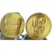 Hell Yes - Hell No Flipping Coin Gold Color Decision Maker Flip Medallion