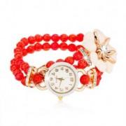 Gyöngyös karóra, piros gyöngyökből, számlap cirkóniákkal, fehér virág