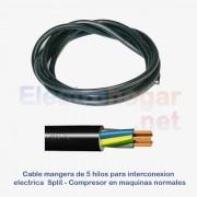 Cable de 4mtr. para conexión Split - Compresor, 5 hilos de 1.5mm