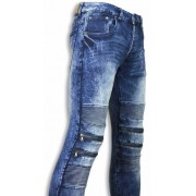Justing Exclusieve Jeans - Slim Fit Jeans Zipped White Wash - Blauw