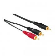 Audio Kabl 1x činč (muški) na 2x činč (muški), 2m, pozlaćeni, HAMA 44113