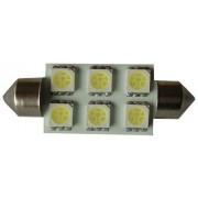 Autós led sofita rendszám világítás, 6 led, 36 mm, 120 Lumen, 5050 chip, 2W, hideg fehér Life Light Led