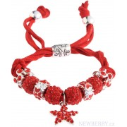 Shamballa červený náramek s hvězdou LS Fashion LSB0037