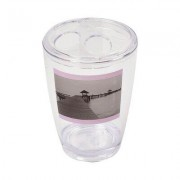 Evideco Seaside Clear Acrylic Printed Toothbrush and Toothpaste Holder 6300407