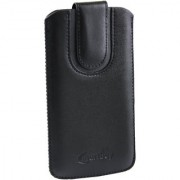 Emartbuy Black Plain Premium PU Leather Slide in Pouch Case Cover Sleeve Holder ( Size LM2 ) With Pull Tab Mechanism Suitable For Lava A82