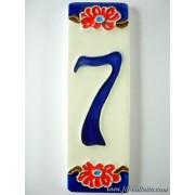 Numero civico ceramica con fiore nfp7