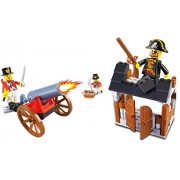 Pirate Contest Money and Valuables - 110 pcs of fortress treasure chest gun wielding pirate soldier protected by a sword and shooting canon - for a warrior of 6 in Lego compatible building blocks