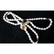 17'' White Pearl & Garnet Necklace & 9Ct Gold New