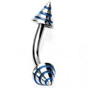 Rook piercing strepen blauw