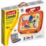 Tablita magnetica cu litere 2 in 1 cu piese mozaic si desene magnetice Quercetti pentru copii
