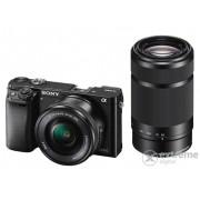 Kit aparat foto digital Sony Alpha 6000 (cu obiectiv 16-50mm + 55-210mm), negru