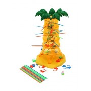 Falling Monkeys - colorful challenging game for preschoolers hang little monkey figures on colorful sticks inserted into the toy coconut tree in random arrangement, fumble and let the monkeys tumble