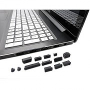 PortPlugs - Dust Plugs for PC Laptops and Notebooks - 13 Piece Set - Defend and Protect Computer Ports from Dirt Dust and Splashes (Black)