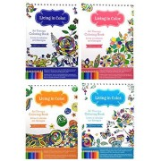 Art Therapy Coloring Books for Adults Living In Color Portable Spiral Bound 4 Book Bundle