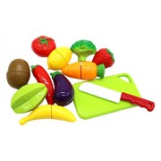 Little Treasures 12 PCS Kids Play Cutting Fruits & Vegies Toy Set Pretend Food Playset multicolored fruit pieces...