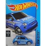 Hot Wheels 2015 HW City Fiat 500 [Light Blue Polizia] Die-Cast Vehicle #50/250 by MATTEL