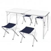 vidaXL Сгъваем къмпинг комплект от 1 маса и 4 стола