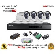Hikvision CCTV Security System With Turbo DS-7204HQHI-F1 4CH DVR + DS-2CE16DOT-IR HD Bullet Camera 4pcs+ 1TB HDD + Active Cable + Active Power Supply Full Combo