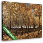Vincent Van Gogh: Nyárfasor Neunen-nél (1885) (30x25 cm, Vászonkép )