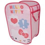 Hello Kitty Pop Open para la colada y almacenamiento de bin - Bolsa de lavandería con asas - Portable para la colada - Plegable Cesta de juguete